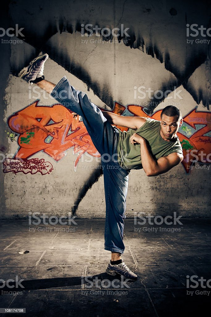 Young Man Kickboxing royalty-free stock photo
