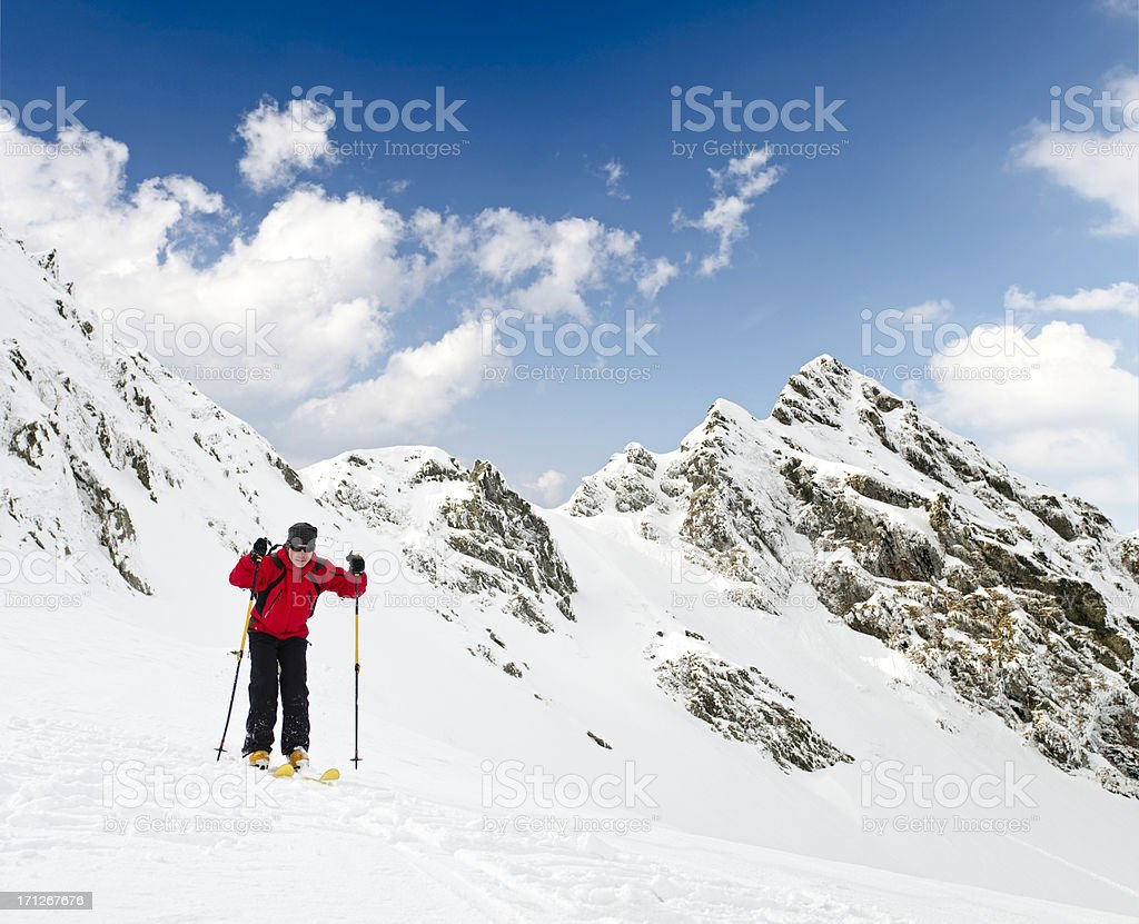young man learning to ski royalty-free stock photo