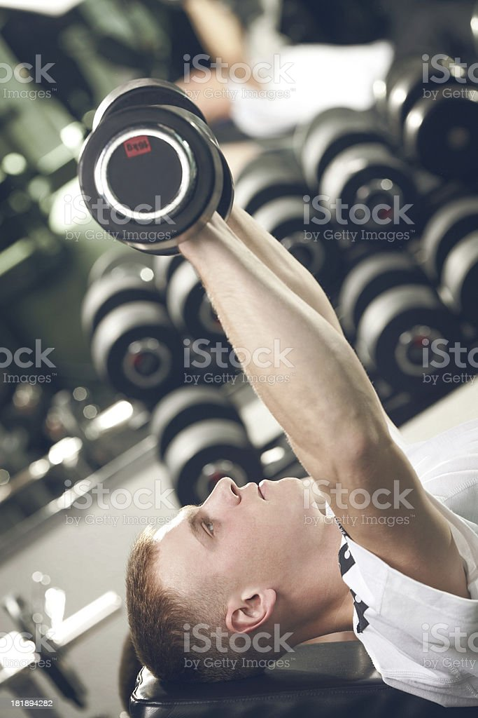 Young Man Lifting  Dumbbells in the Gym . royalty-free stock photo