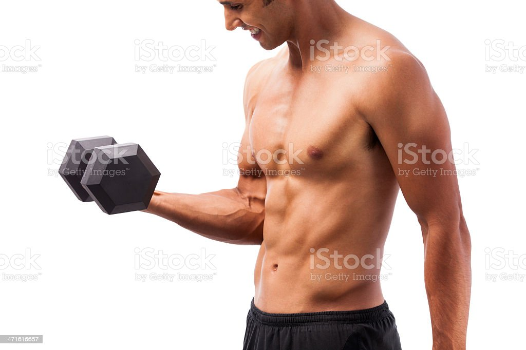 Young man lifting weight royalty-free stock photo