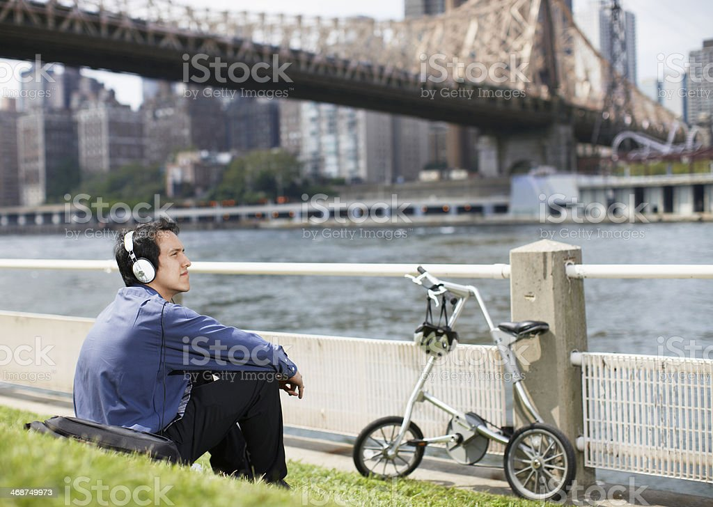 Young Man Listening to Headphones stock photo
