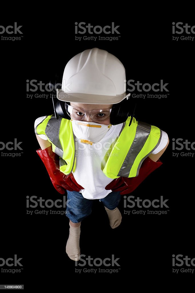young man looking at camera up dressed in protective workwear royalty-free stock photo
