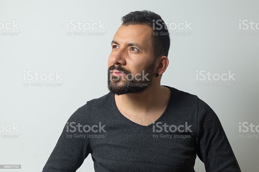 Young man looking stock photo