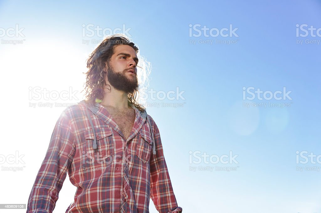Young Man Looks to the Future stock photo
