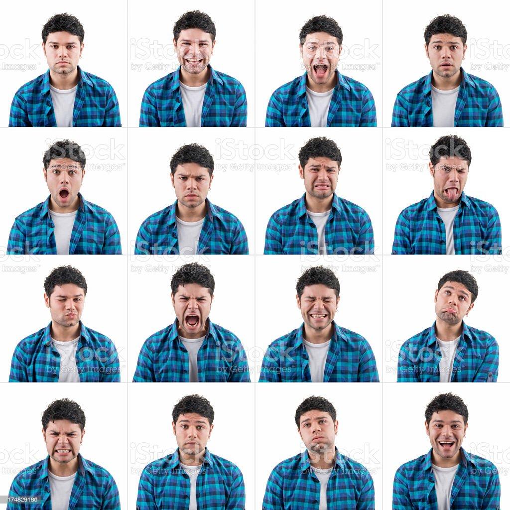 Young man making facial expressions royalty-free stock photo