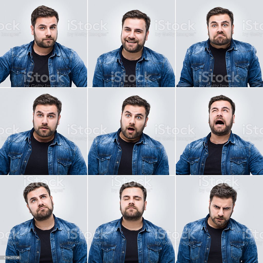 Young man making facial expressions stock photo