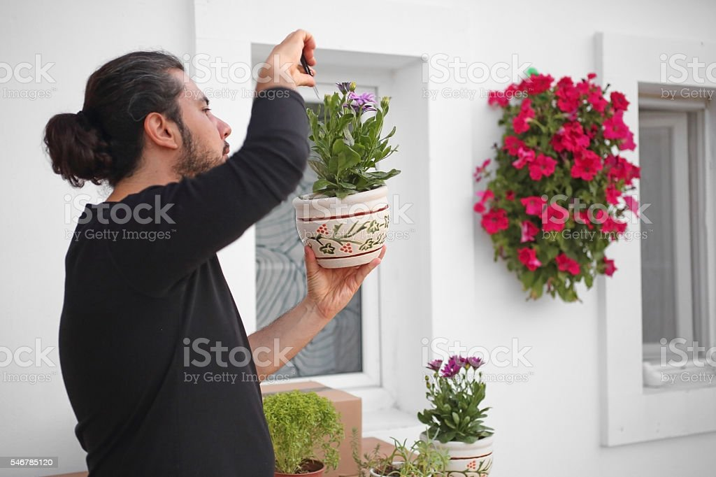 Young man making home improvement stock photo