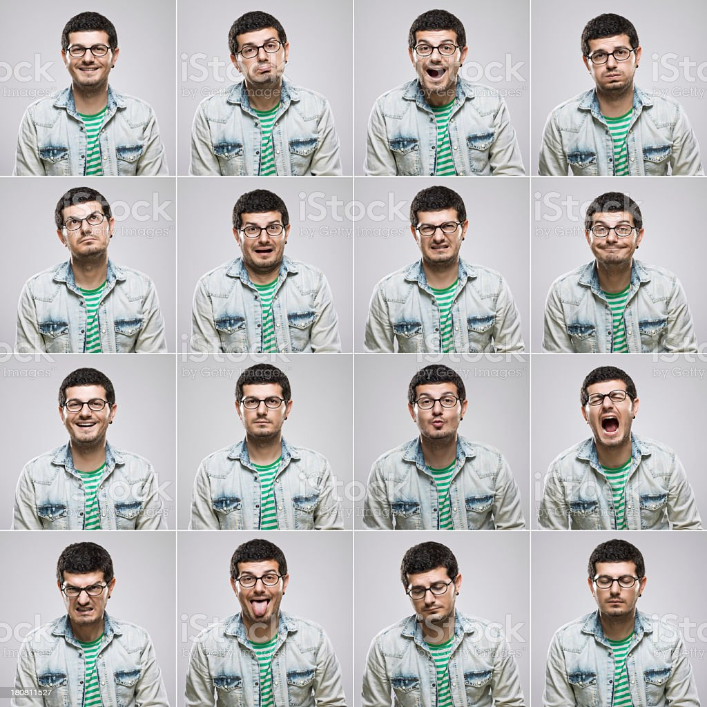 Young man making sixteen different facial expressions stock photo