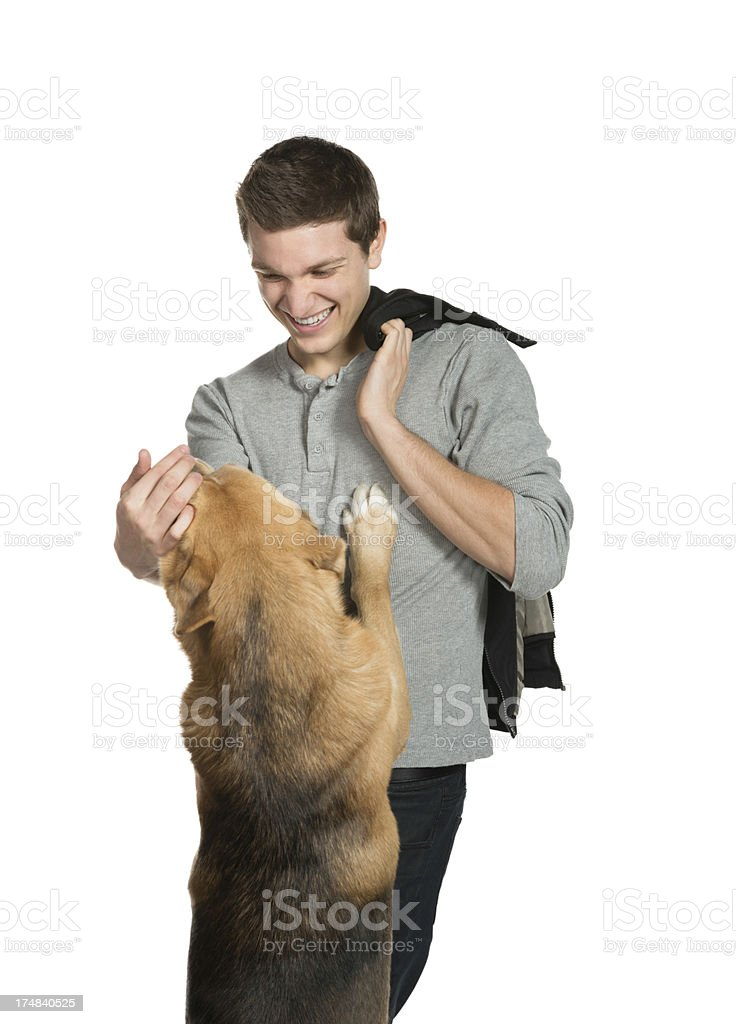 Young Man meeting affectionate dog Isolated royalty-free stock photo