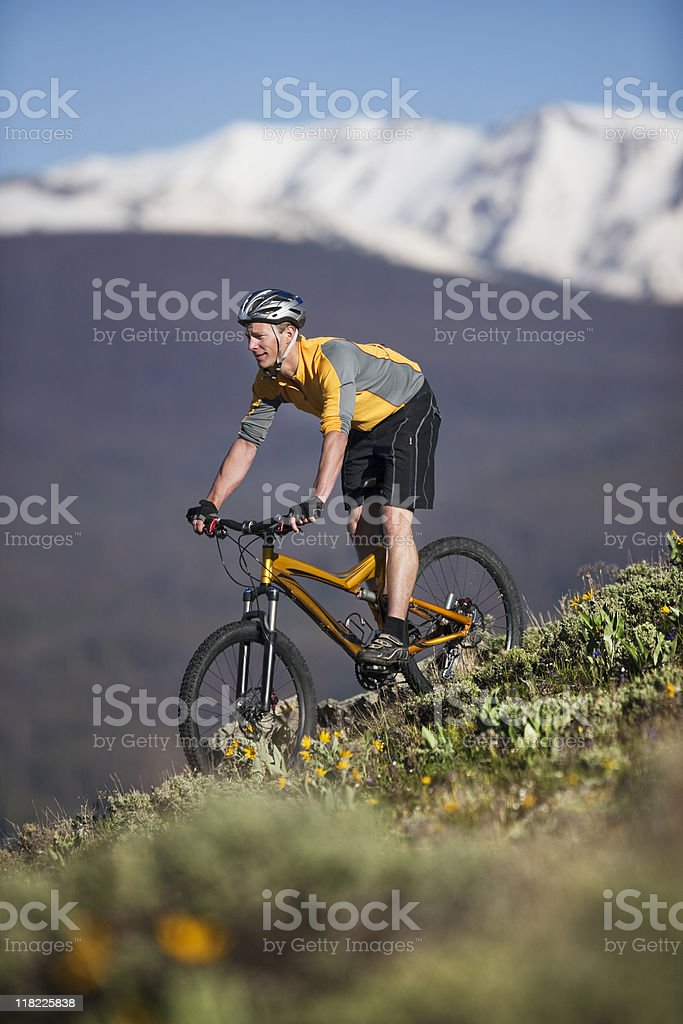 Young Man Mountain Biking In Rocky Mountains royalty-free stock photo