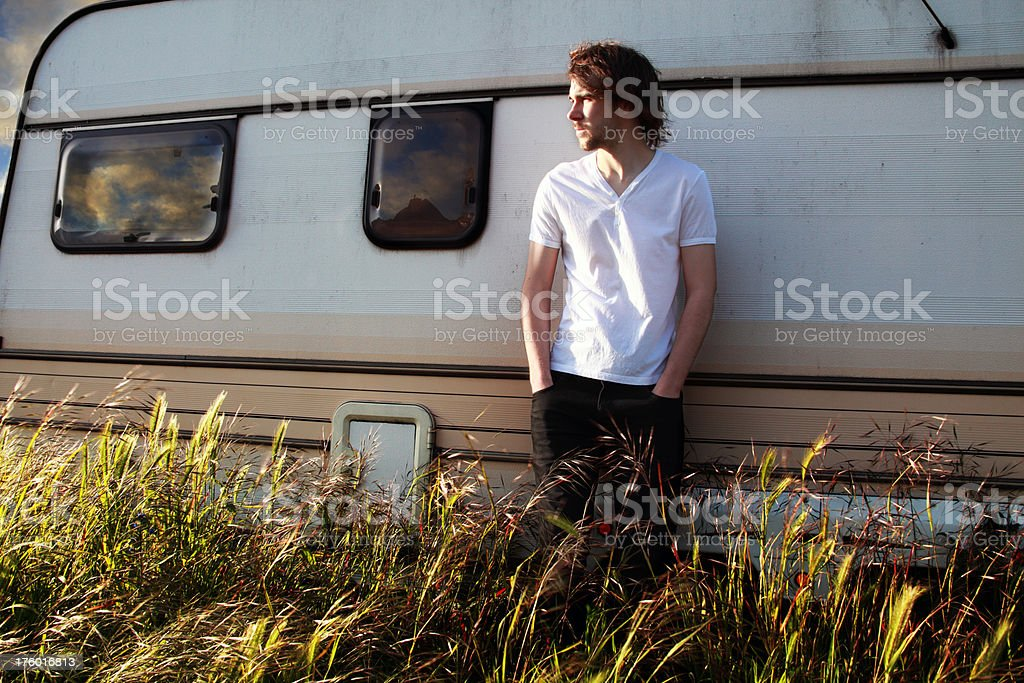 Young man on a road trip royalty-free stock photo