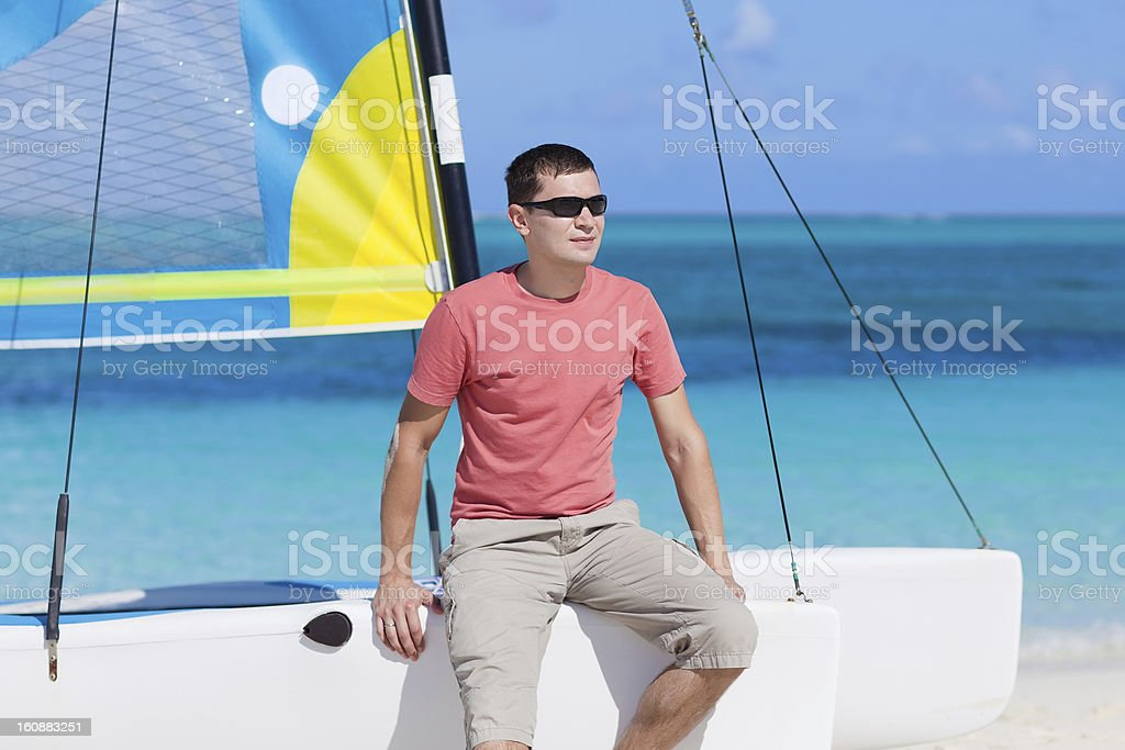 young man on a vacation stock photo