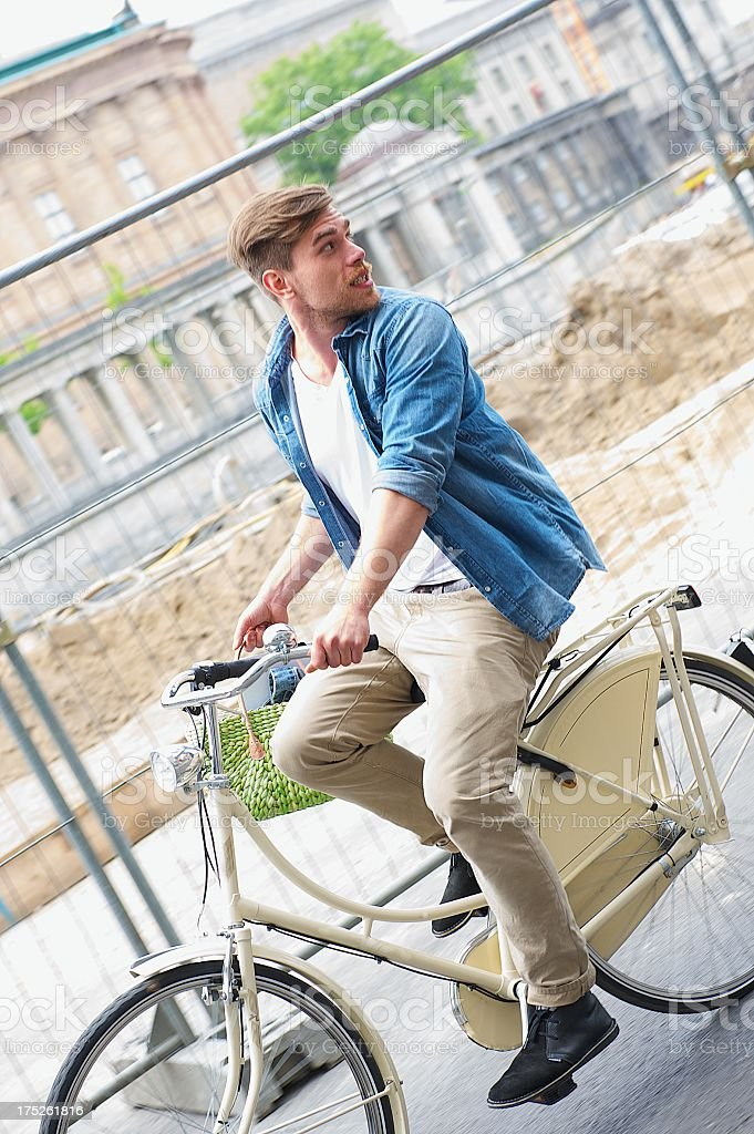 Young Man on bicycle royalty-free stock photo
