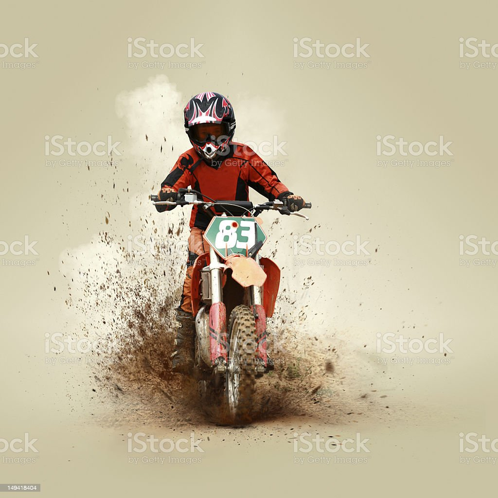 Young man on his motorcycle stock photo