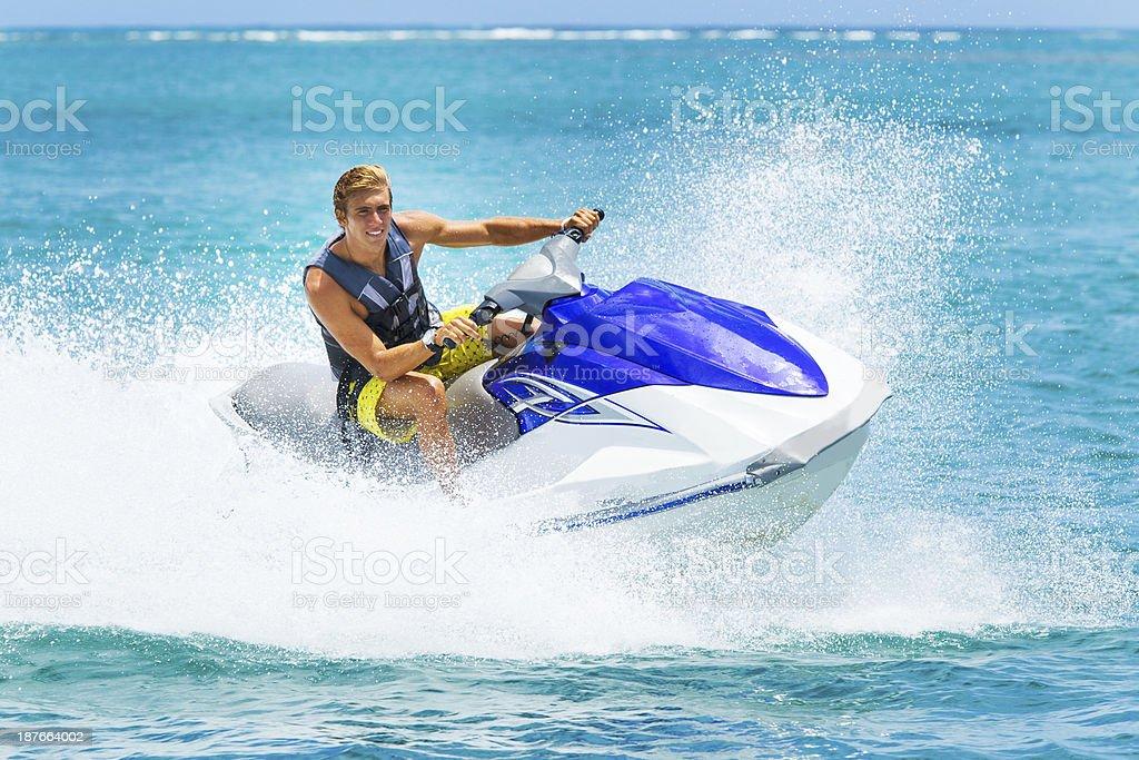 Young Man on Jet Ski stock photo