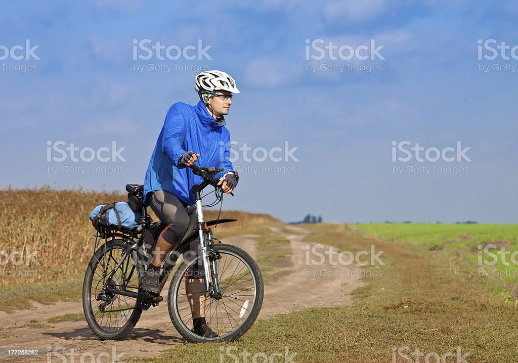 Young man on mountain bike royalty-free stock photo