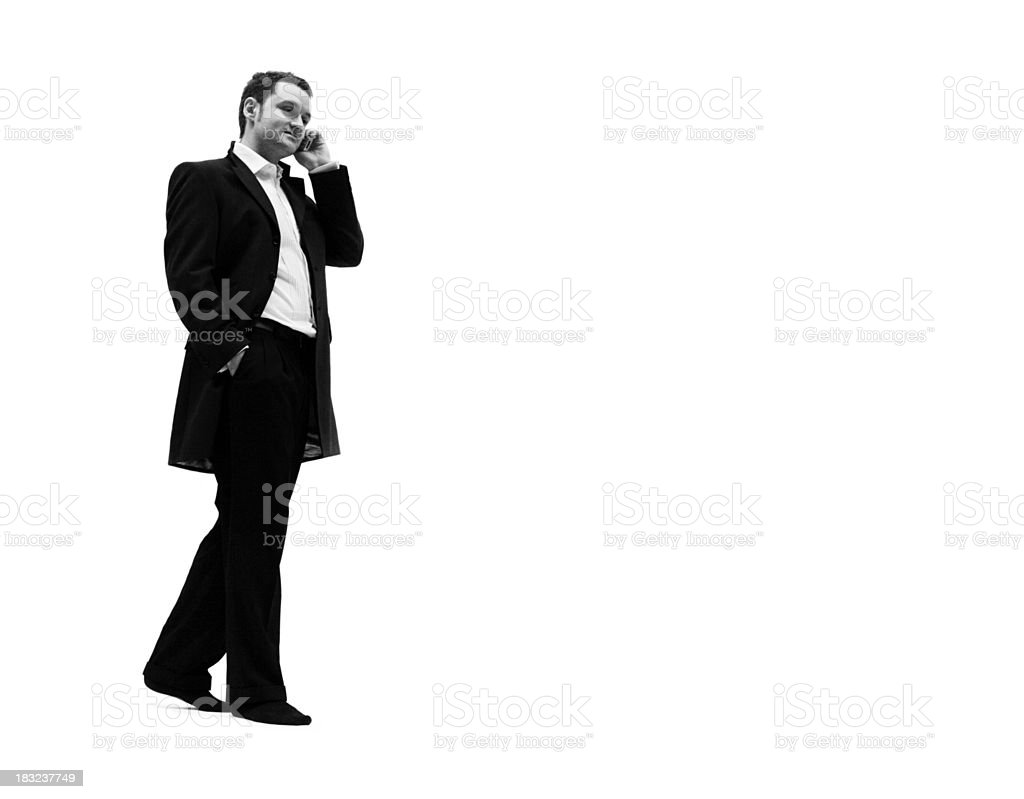 Young man on Phone B&W royalty-free stock photo