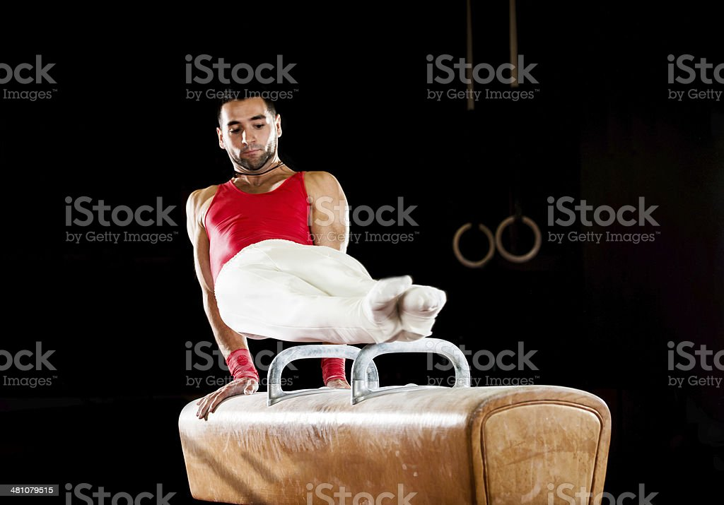Young man on pommel horse. royalty-free stock photo