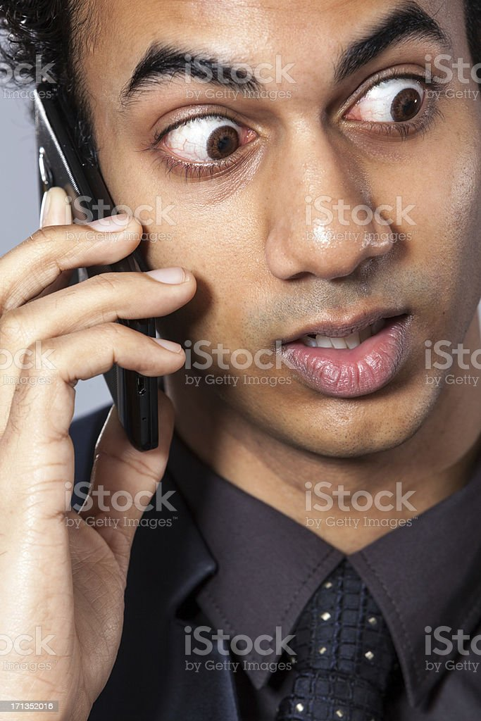 Young man on portable telephone stock photo