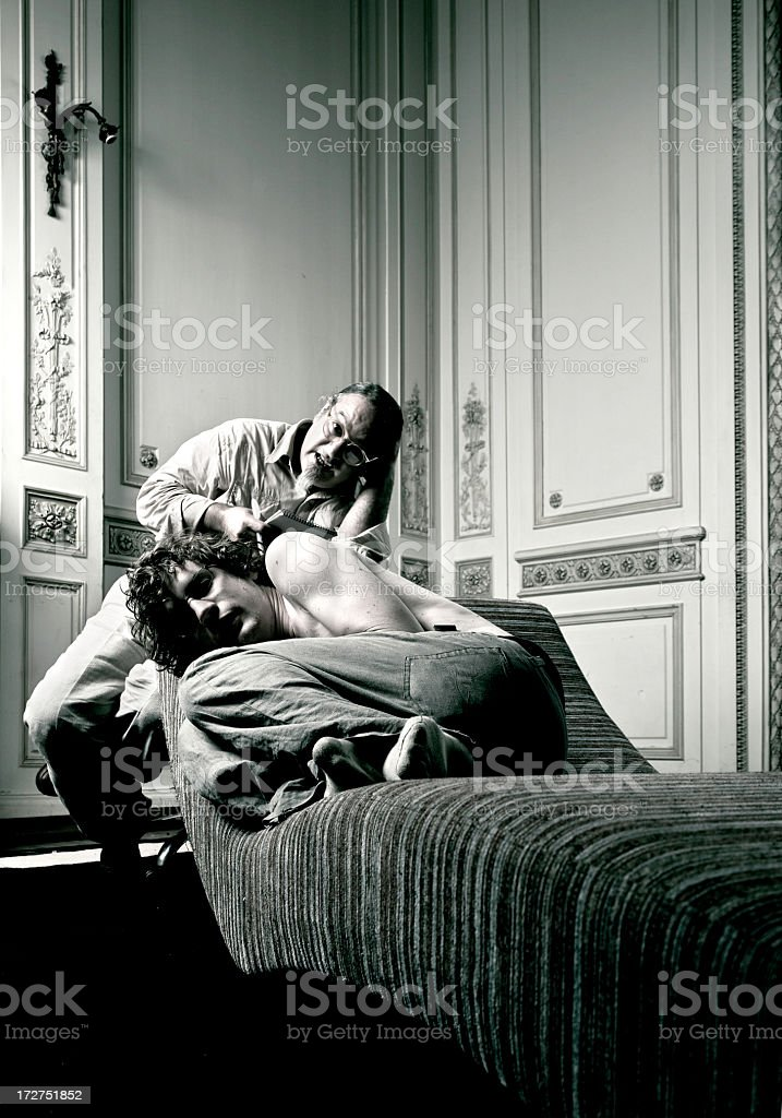 Young man on psycho therapy royalty-free stock photo