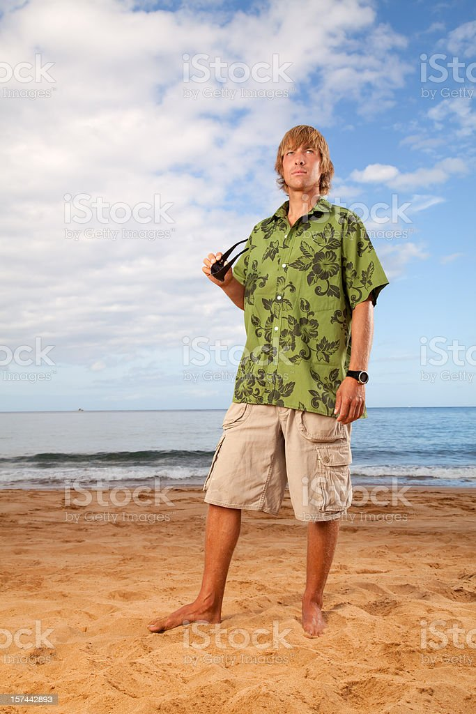 Young Man On the Beach royalty-free stock photo
