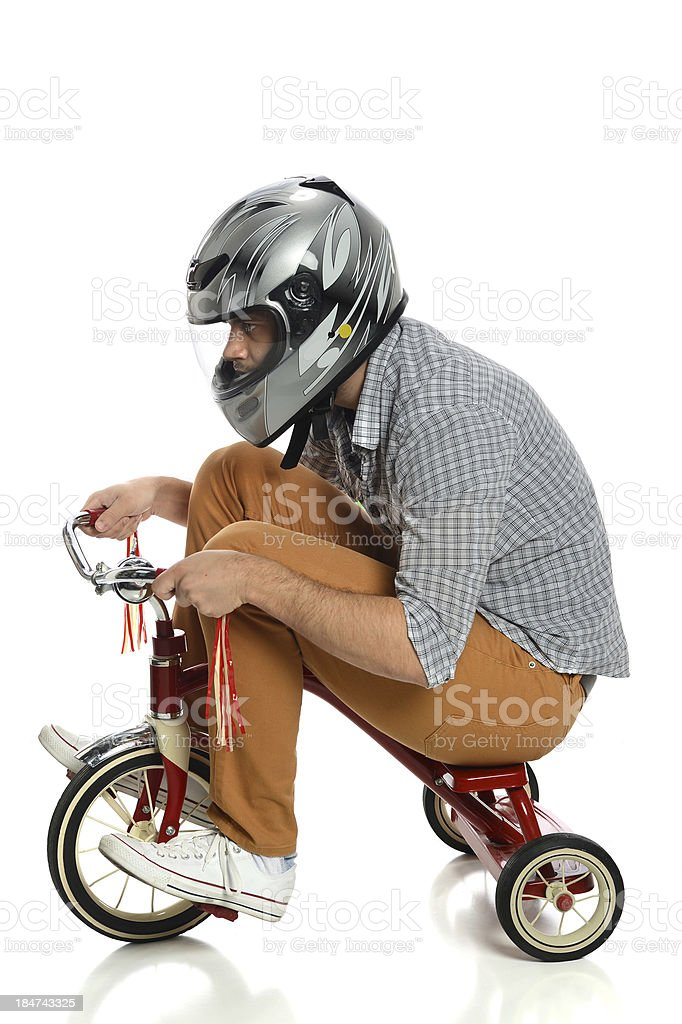 Young Man on Tricycle stock photo