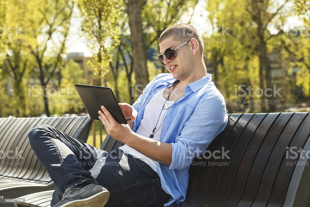 Young man online royalty-free stock photo