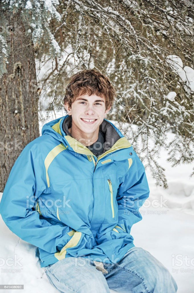 Young Man Outside in Winter stock photo