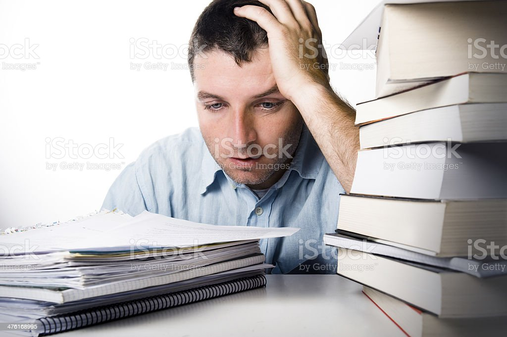Young Man Overwhelmed and frustrated royalty-free stock photo