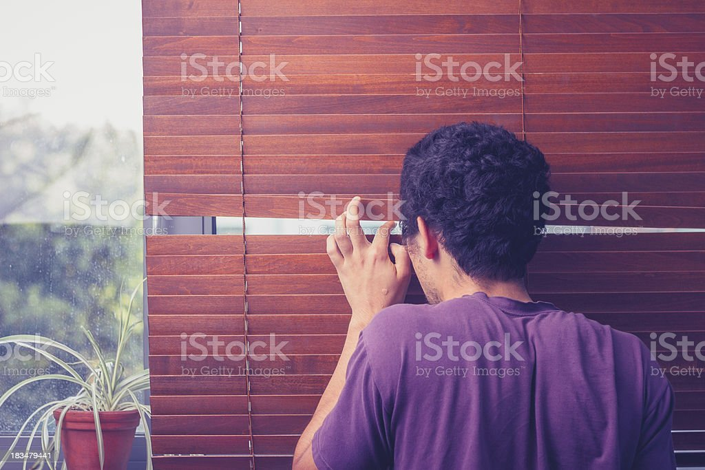 Young man peeping out through venetian blinds royalty-free stock photo