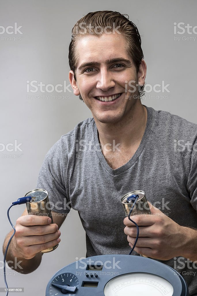 Young Man Performing an Experiment stock photo