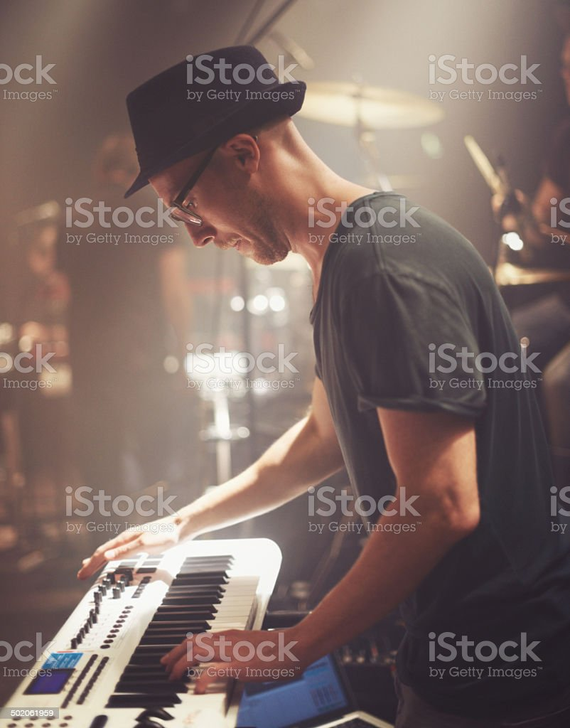 He has the world of music at his fingertips stock photo