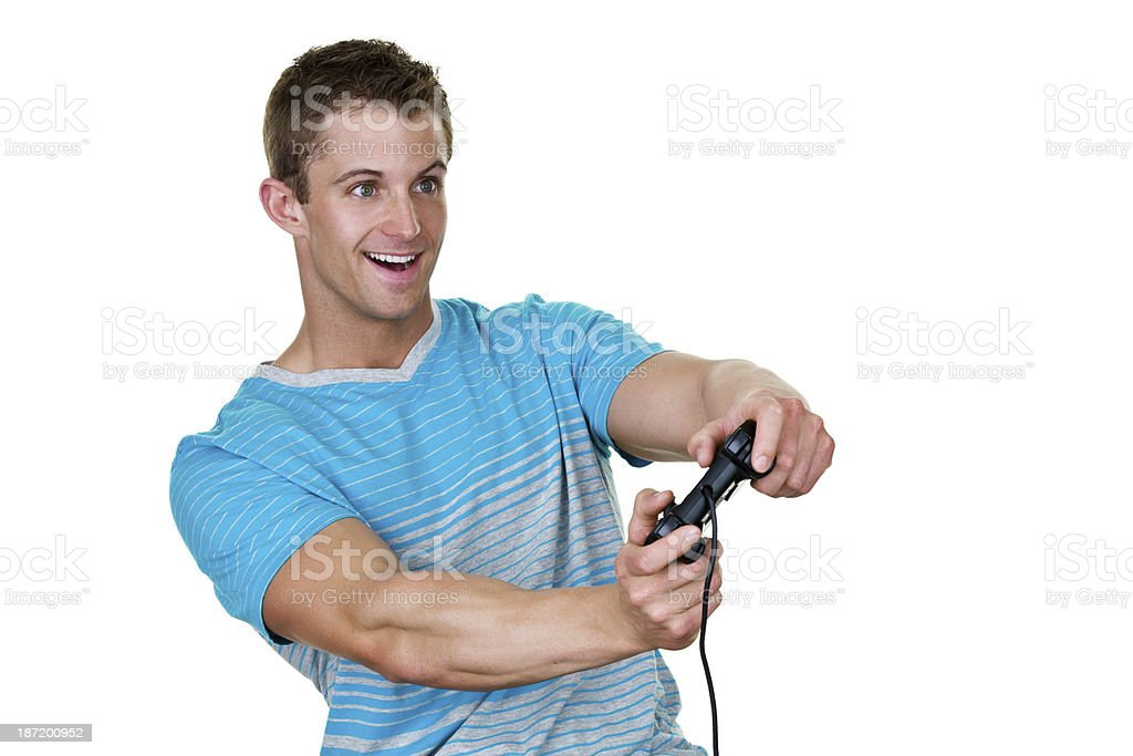 Young man playing a video game royalty-free stock photo