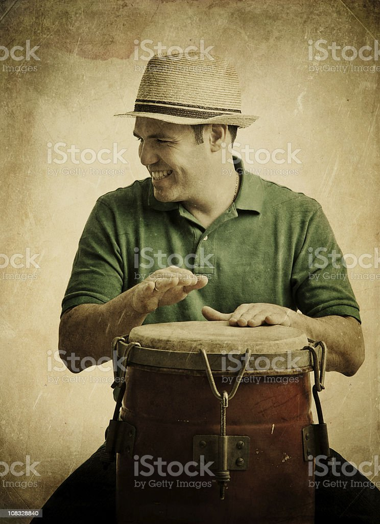 young man playing congas royalty-free stock photo