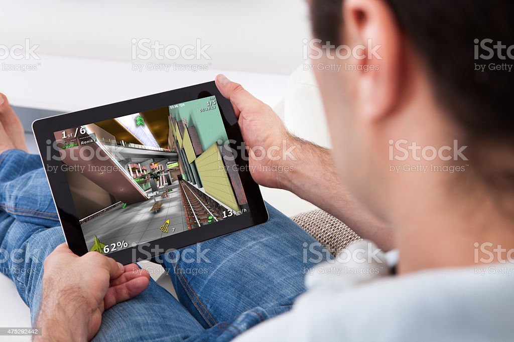 Young Man Playing Game stock photo