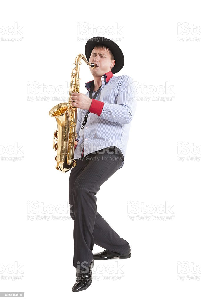 young man playing on saxophone stock photo