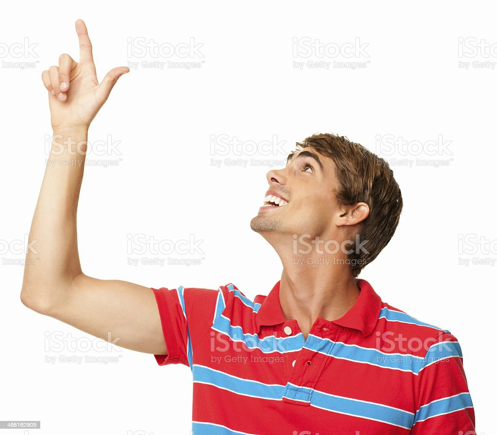 Young Man Pointing Up - Isolated royalty-free stock photo