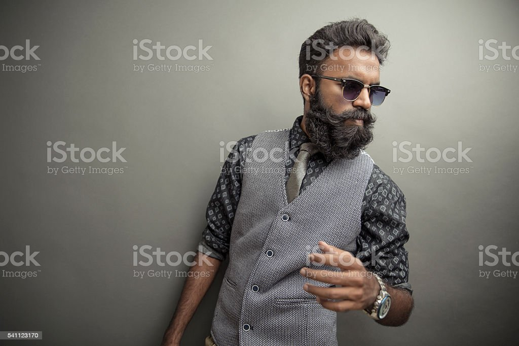 Young man posing with beard stock photo