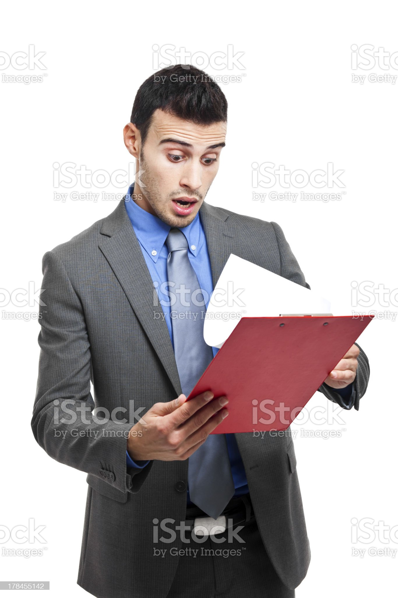 Young man readin shocking news royalty-free stock photo