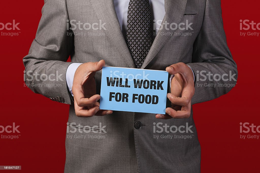 Young Man Ready To Work For Food stock photo