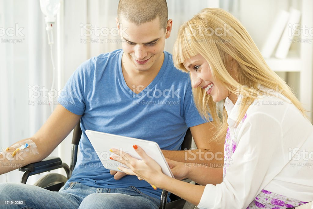 Young Man Receiving Chemotherapy. stock photo