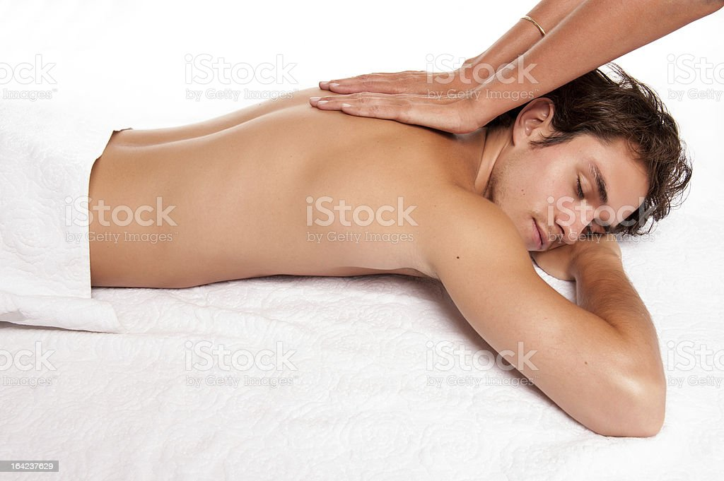 young man receving a massage. royalty-free stock photo