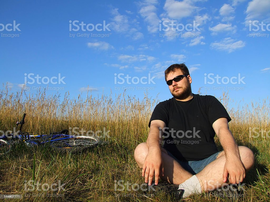 young man relaxing in nature royalty-free stock photo