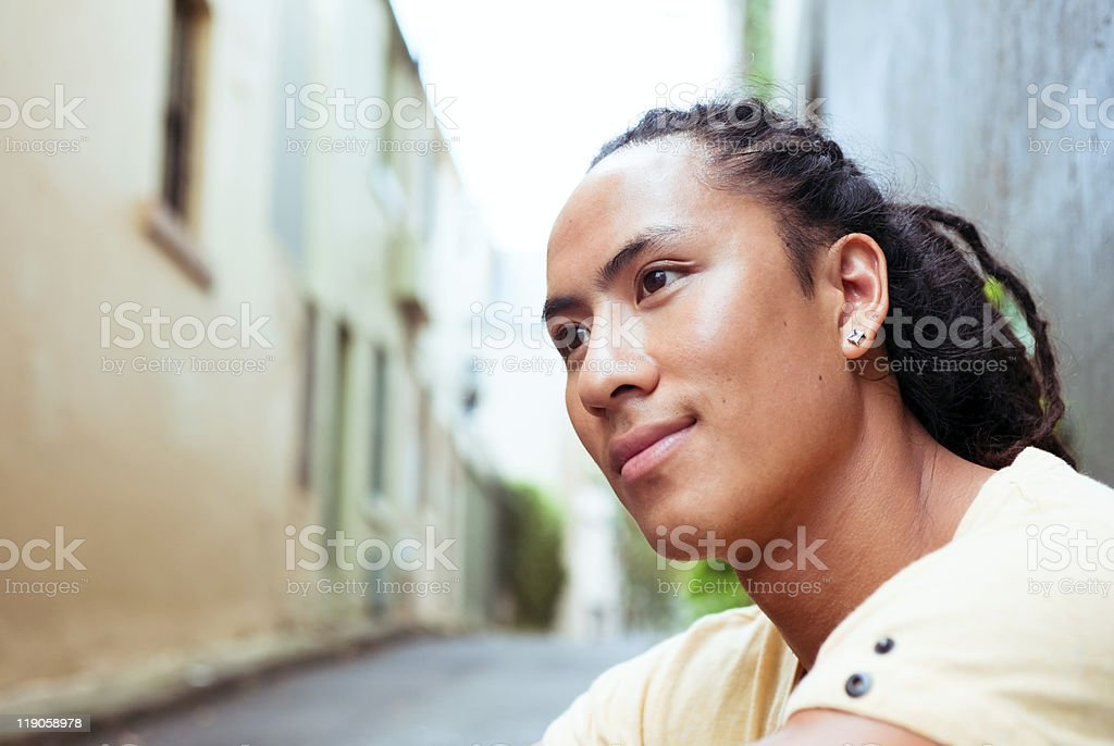 Young man resting outside stock photo