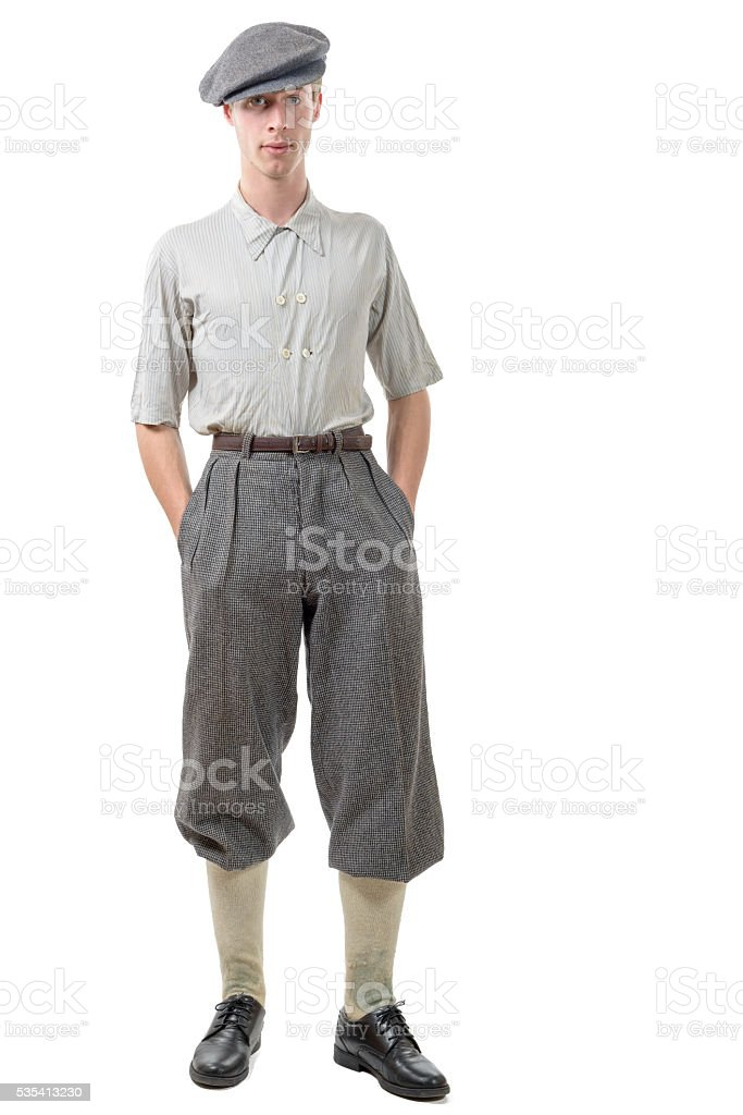 young man retro style, 40, vintage clothes stock photo