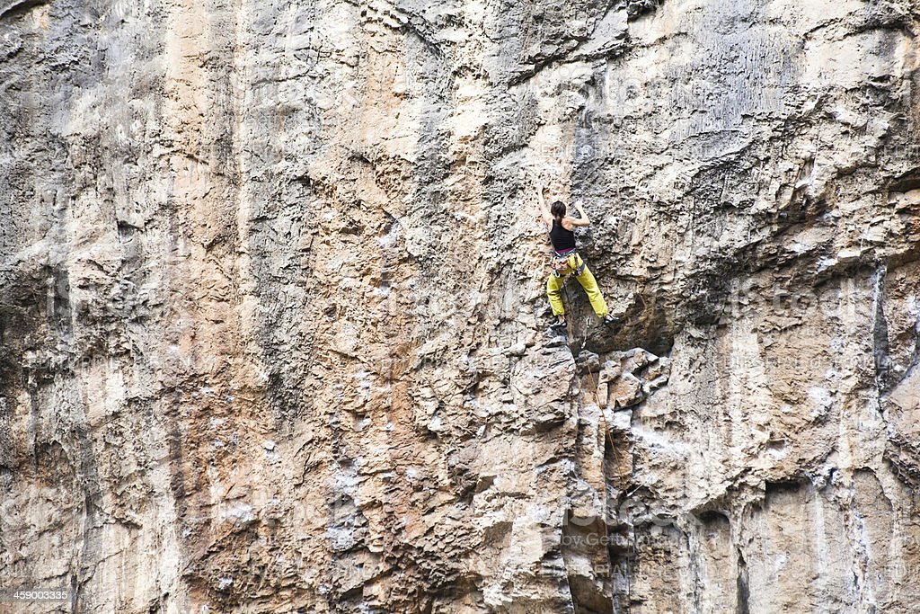 Young Man Rock Climbing in The Dolomites stock photo