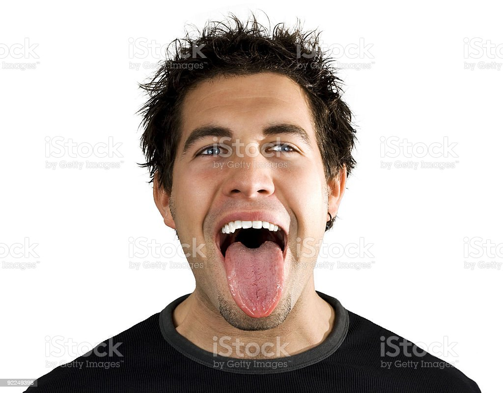 Young man screaming and smiling stock photo