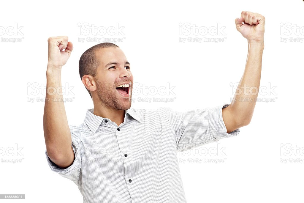 Young man screaming in excitement over white background stock photo