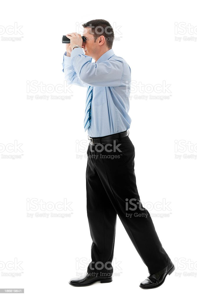 Young man searching for a career, isolated on white stock photo