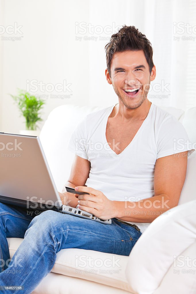 Young Man Shopping From Home royalty-free stock photo